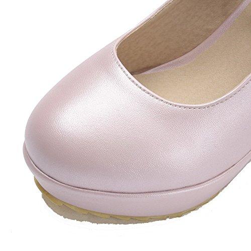 Allhqfashion Dames Hoge Hakken Zacht Materiaal Stevige Gesp Ronde Gesloten Teen Pumps-schoenen Roze