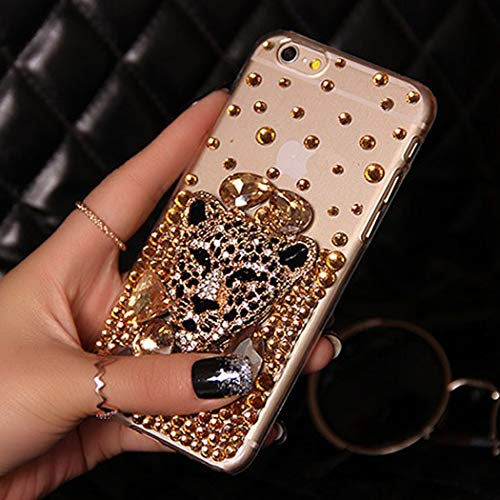 iPhone Xs Max Case, Leopard Diamond Case Rhinestone Back Cover for iPhone Xs Max 6.5-inch Gold 3D Leopard Bling Glitter Diamond Phone Protection Case ()
