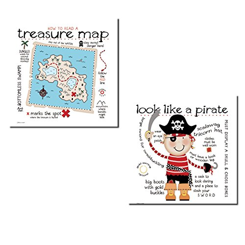 Adorable ''How To Read A Treasure Map'' and ''Look Like a Pirate'' Set; Perfect for a Child's Room or Nursery: Two 12x12in Poster Prints by Gango Home Decor