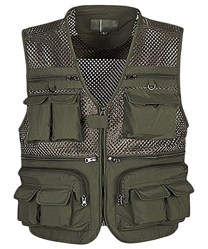 Outdoor Multi-pocketed Fishing Vest Sleeveless Mesh Quick-Dry Waistcoat Jacket Army Green US S/Label XL