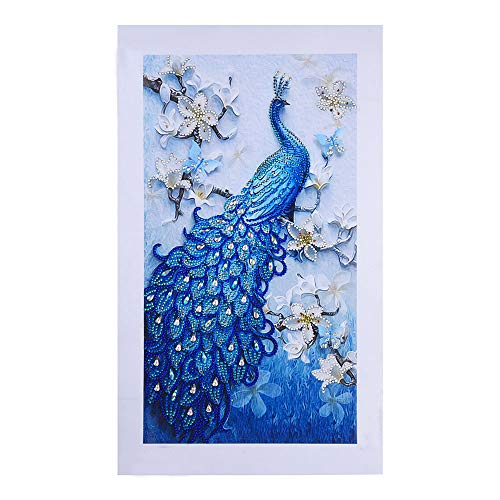Franterd Special Shaped Diamond Painting Animal Peacock - DIY 5D Partial Drill Crystal R Cross Stitch Kits for Adult&Kids (B, Multicolor)