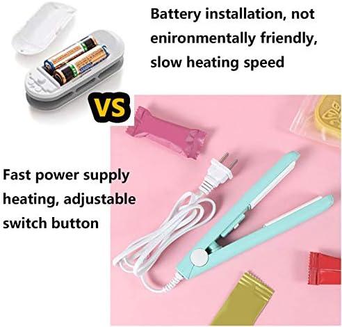 "Portable Mini Bag Sealer Heat Seal, Handheld Heat Sealer Bag Resealer for Food Storage, Smart Food Sealer Machine with 45"" Power Cable for Nail Polish Strips Bags, Chip Bags, Plastic Bags, Snack Bags -Pink"