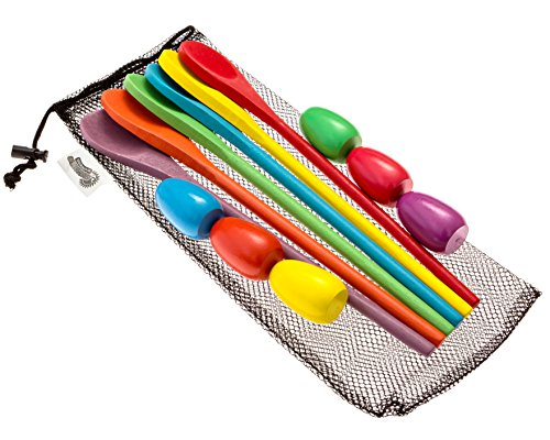 Egg and Spoon Relay Race Game - Fun Game for Kids Parties, Birthdays, Family Outings - Includes 6 Eggs, 6 Spoons, and Storage Bag - Six Assorted Colors - Egg n Spoon ()