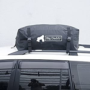 Car Rooftop Cargo Bag Version 2 By BigDaddy – 14 Cubic Feet (400 Litres)- Super Strong and Extra Waterproof Tarpaulin Material –Ideal For Road Trips – With FREE ROOF MAT, Straps and Handy Storage Bag