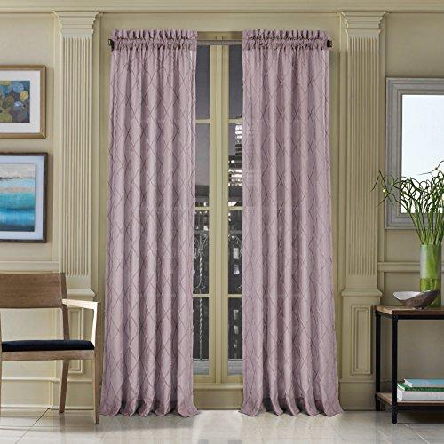Five Queens Court Grenada Semi Sheer Light Filtering Window Curtain with Rod Pocket, Amethyst