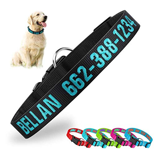 Personalized Dog CollarCustom Embroidered Pet Name Phone ID Nylon Collars for Dogs Side Release Buckle Neoprene Dog Collar Soft Adjustable Basic Dog Collars for Small Medium Large Breed Dogs