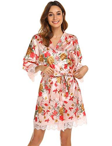 Camicia in Nightdress Vestaglia Notte e 3 Pizzo BeautyUU Scollo Motivo3 XXL S Donna da V Manica Notte Raso Vestaglia Pigiama a Kimono a 4 da xFqwxn61X