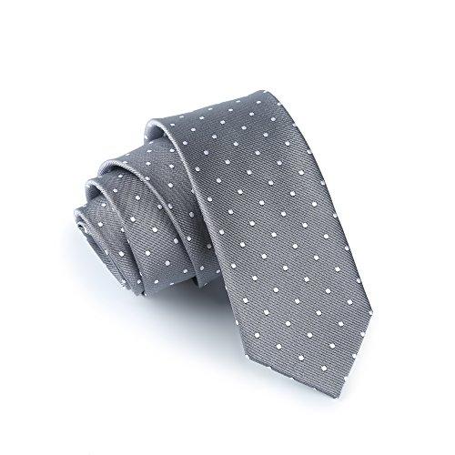 Elviros Men's Eco-friendly Fashion Polka Dot Slim Tie 2.4'' [6cm] Gray - Exclusive Silk Twill