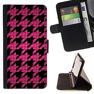 Momo Phone Case / Flip Funda de Cuero Case Cover - Modelo de la hoja rosa acolchado Moda - Samsung Galaxy S6