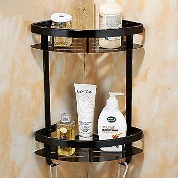 BATHAE Los estantes de baño de 2 capas estante del metal antiguo gancho de la toalla ...