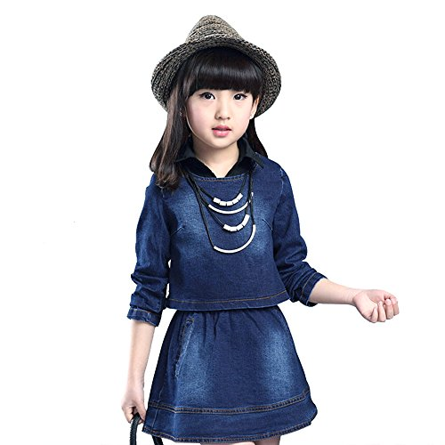 AIMBAR Kids Girls Casual Washed Denim Long Sleeve Top & Clothing Set Size 4-13 Years (Blue, 12-13 Years) ()
