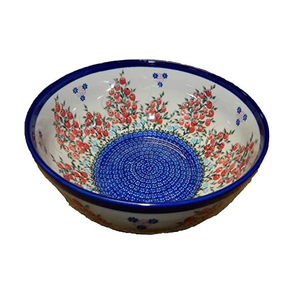 Polish Pottery Ceramika Boleslawiec 0411/282 Royal Blue Patterns 10-Cup Bowl, Red Berries and Daisies