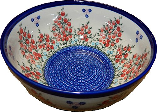 - Polish Pottery Ceramika Boleslawiec 0411/282 Royal Blue Patterns 10-Cup Bowl, Red Berries and Daisies
