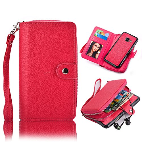 Cheap iPhone 7 4.7 inch Case,Vandot Exclusive PU Leather Zipper Wallet Case Purse Card Slots Flip Magnetic Book Style Cover Protective Skin Shell + Detachable Wrist Strap+Universal Stylus Pen-Rose Red