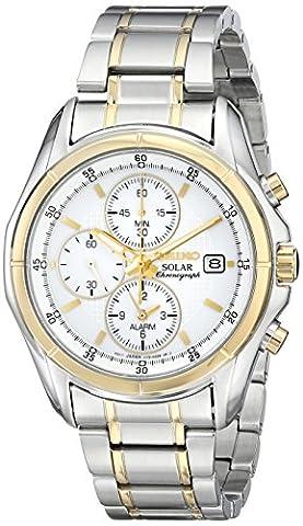 Seiko Men's SSC002 Two-Tone Stainless Steel Bracelet Watch (Seiko Solar Ssc002)
