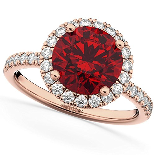 (2.50ct) 14k Rose Gold Round Halo Ruby and Diamond Accented Engagement Ring