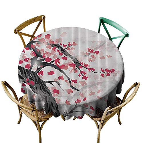 Japanese Plum Tree and Cherry Flowers Garden Polyester Tablecloth Easy Care D51