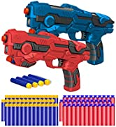 Kitoyz 2 Pack Blaster Toy Guns Darts Gun for Boys, Kids LED Gun Toys Set with 60 Pcs Soft Foam Bu...