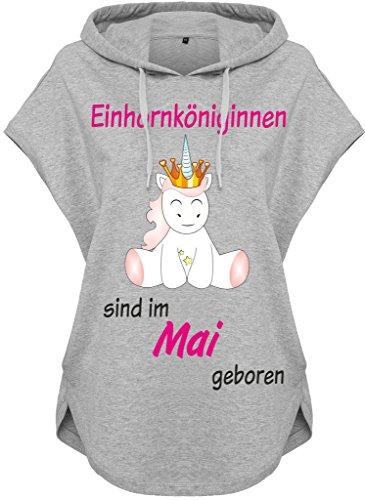 Kawaii Sudadera con capucha sudadera con capucha Mujeres Mujer Camisa con capucha Unicornio Unicornio Reinas de unicornio son nacido Gris Mayo