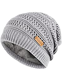 Unisex Slouchy Beanie Hats Winter Warm Knit Skull Fleece Ski Cap 4 Color
