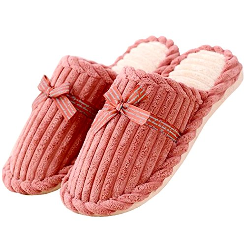 Asunflower Womens Indoor Slippers, Cozy Plush Lining Cotton House Slipper Shoes with Non-slip Sole Light Pink