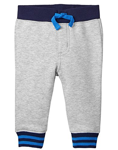Gray Knit Pants (Gymboree Baby Boys Drawstring Knit Jogger Pant, Heather Grey Stripe, 12-18 MO)