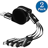 KINGBACK 2 Pack Retracrable 4 in 1 Multiple USB Cable, Lightning Cable+Type C Connectors+Micro USB 3 in 1 Charging Adapter Connector for iPad,iPhone 7 Plus,Andriod,Samsung Galaxy