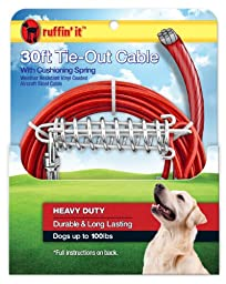 Ruffin\' It Strength Heavy Duty Cable Tie Out/Spring, 30-Feet