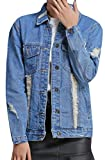 SYTX Womens Hip Hop Lapel Collar Badge Ripped Holes Denim-Jackets 2 L