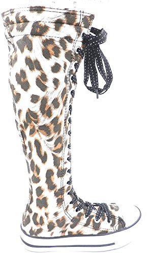 Girls Kids New Dev-10 Canvas Tall Punk Skate Classic Dancing Boot Sneakers Shoes, Consider Going 1 Size up Browm/Leopard