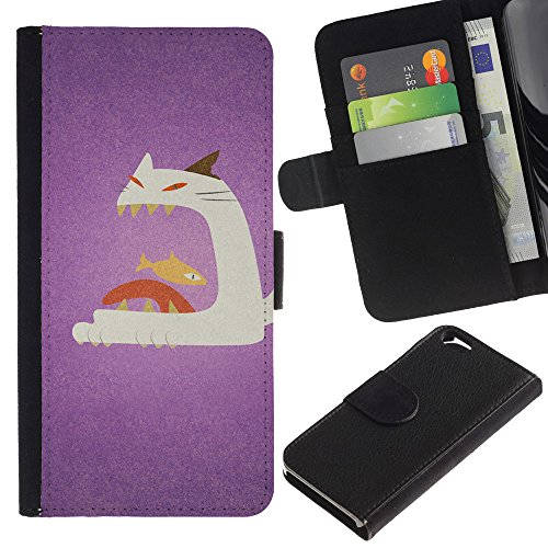 OMEGA Case / Apple Iphone 6 4.7 / cat fish big mouth art painting / Cuir PU Portefeuille Coverture Shell Armure Coque Coq Cas Etui Housse Case Cover Wallet Credit Card