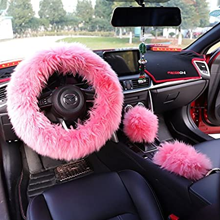 Generic Multicolor Fuzzy Steering Wheel Cover Fuzzy Car Accessories, Universal Fit Car Steering Wheel Cover (Pink) zzxswc ZZX-Steering-Wheel-Cover00017