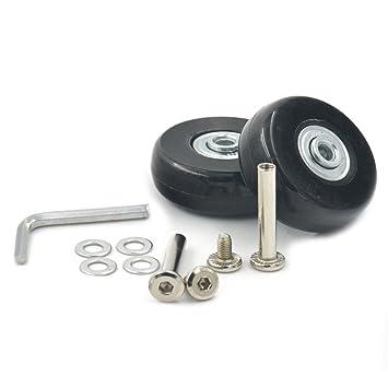 Fujiyuan: 1 par de ruedas de repuesto de 45 x 18 mm para equipaje de viaje, piezas resistentes con llave: Amazon.es: Deportes y aire libre