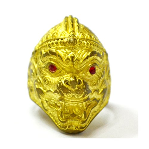 Thai Buddhist Amulets Magic Ring Hanuman King of Monkey Thai Amulet Ring Wealthy Powerful Holy (Standing Plastic Replica)