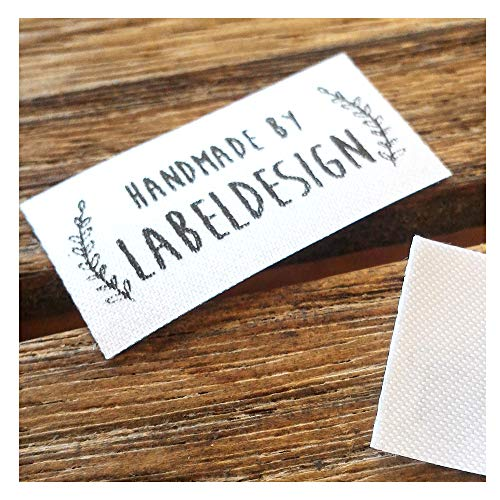 (Qty 100 Iron on Clothing Label Sewing Custom Name tag Leaf Frame Design Handmade Business Text Logo Personalized Soft Satin Ribbon Waterproof Washable Label Size 1.2