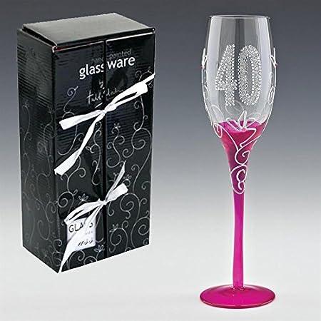 Boxer Gifts Tallulah - Copa alta de champán en estuche de regalo, diseño conmemorativo de 40 cumpleaños