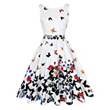 KeZheXi Women's 1950s Vintage Floral Butterfly Pattern Swing Party Cocktail Dress