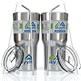 (2 Pack) Stainless Steel Tumbler with Straw, Lid & Brush - Best Insulated Mug Keeps Cold 24+ Hrs – Premium Quality w/ Lifetime Replacement Warranty – Double Wall Vacuum Rambler Cup for Water & Coffee