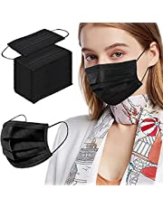 Black Disposable Face Masks, 100pcs Face Mask for Adult, 3 Ply Protection Breathable Safety Masks