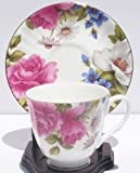Fine Bone China Teacup and Saucer - Grace's Rose Chintz