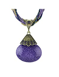 Feelontop® Fashion Colorful Braided Beads Chain Big Stone Pendant Necklace