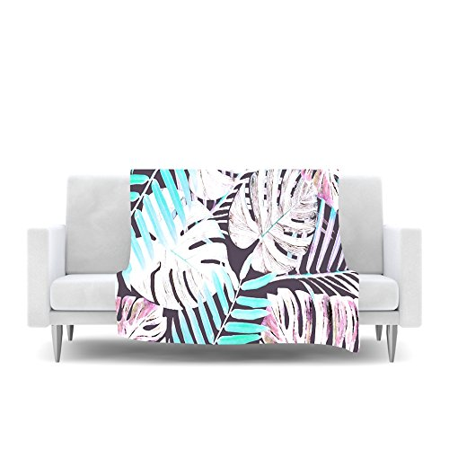 80 by 60-Inch Kess InHouse Alison Coxon Midnight Jungle Pink Blue Fleece Throw Blanket 80 X 60