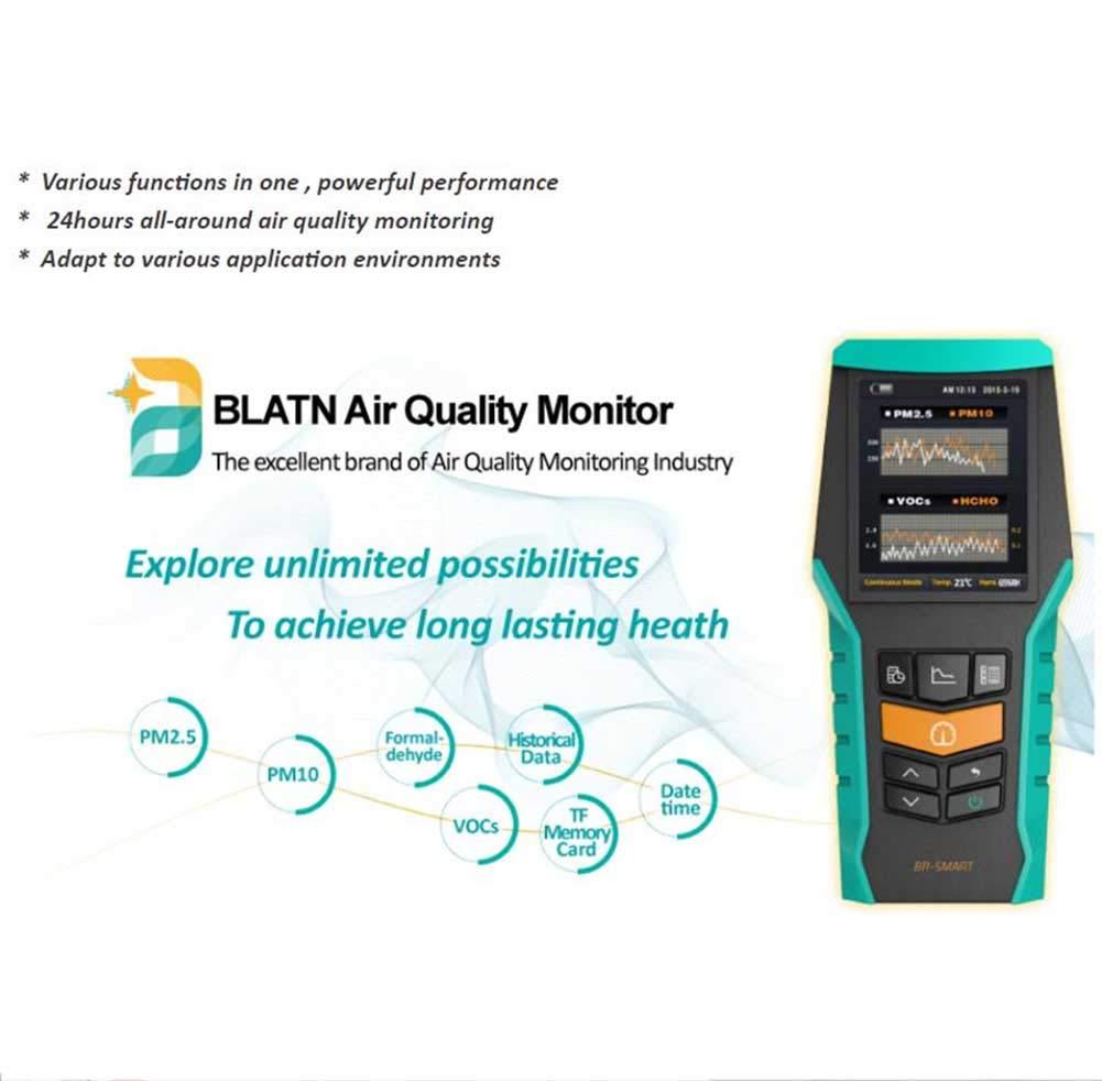 LDRAGON Detector De Formaldehído Inicio Professional PM 2.5 Benceno VOC Detector Doble Platino Catalítico Electrodo Electroquímico Sensor Incorporado 128MTF ...