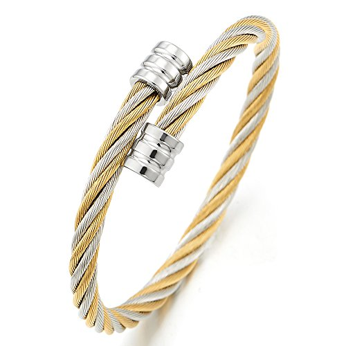 COOLSTEELANDBEYOND Men Women Adjustable Twist Cable Cuff Bangle Bracelet Stainless Steel Silver Gold Two Tone Polished