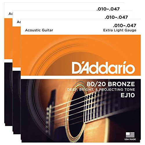 3 Packs of D'Addario EJ10 Bronze Acoustic Guitar Strings, Extra Light, 10-47