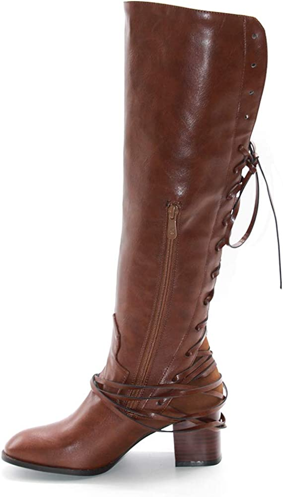DoraTasia Womens British Style Lace-up Slouched Block Heel The Knee High Riding Boots