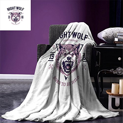 smallbeefly Wolf Digital Printing Blanket Born to be Wild Angry Animal Vintage Grunge Illustration Roaring Savage Retro Summer Quilt Comforter Dried Rose Eggplant