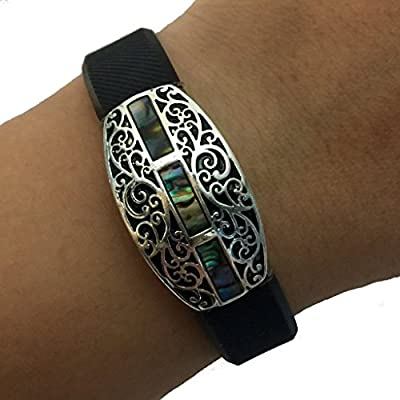 Fitbit Alta, Fitbit Flex Jewelry to Accessorize Your Fitness Activity Tracker Bracelet - Etched Ornate Scroll Design Abalone CHARLESTON Bracelet Accessory