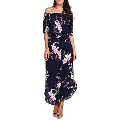 fe82f96848c ESAILQ Frau Aus der Schulter Kleid Lose Sommerkleid Gedruckt  Amazon.de   Bekleidung