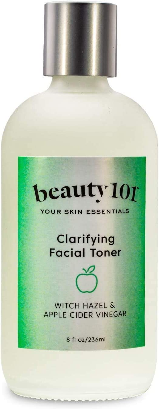 Beauty 101 Clarifying Facial Toner with Witch Hazel & Apple Cider Vinegar, 8 oz | Made in USA, Cruelty Free, Paraben Free